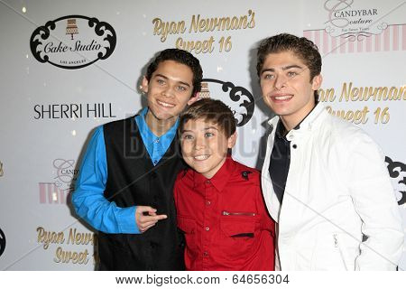 LOS ANGELES - APR 27:  Robert Ochoa, Raymond Ochoa, Ryan Ochoa at the Ryan Newman's Glitz and Glam Sweet 16 birthday party at Emerson Theater on April 27, 2014 in Los Angeles, CA
