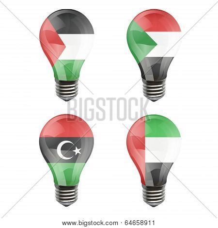 Realistic Bulb Of Libya, Sudan, Gaza Strip, Arab Emirates