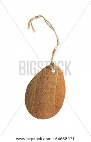 Blank wooden tag on white background
