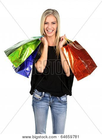 Shopping Lady With Colorful Bags