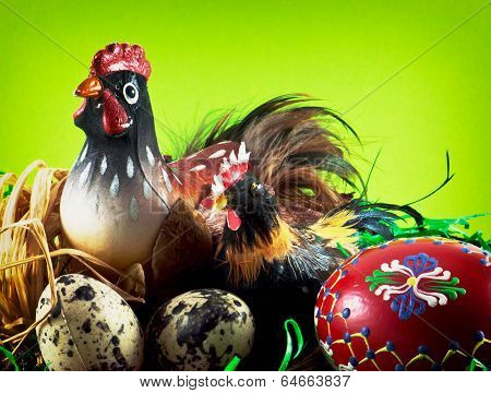 Chicken Family With Painted Eggs
