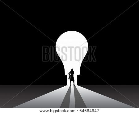 Nicely Dressed Silhouette Business Woman Silhouette Standing Front Of Idea Lightbulb Door