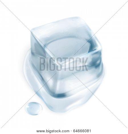 Ice cube, vector illustration isolated on white background