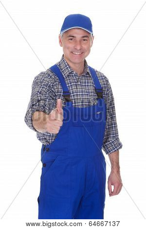 Mature Male Technician Making Thums Up Gesture