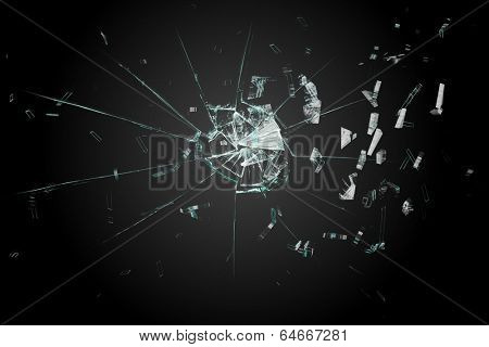Digitally generated shattered glass on black background