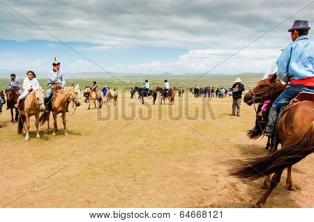 Horseback Spectators On Steppe, Nadaam Horse Race