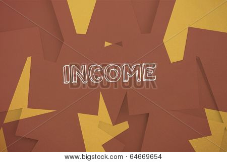 The word income against brown paper strewn over orange