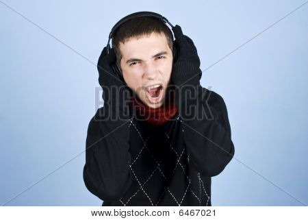 Cool Guy Enjoying Music Extremely