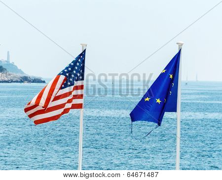 flags of the european union, france and the usa, symbolic photo for, diplomacy, foreign policy