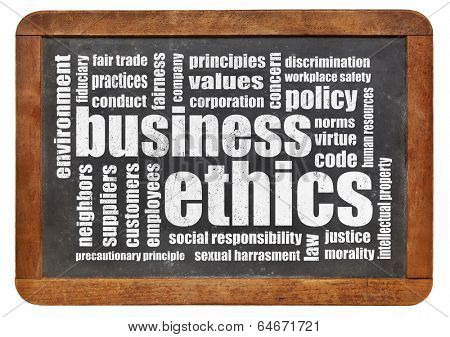 business ethics word cloud on a vintage blackboard