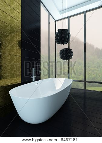 Picture of white bathtub stading in front of black tiled wall