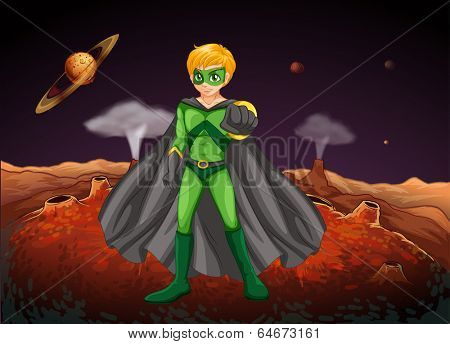Illustration of a powerful man in the outerspace
