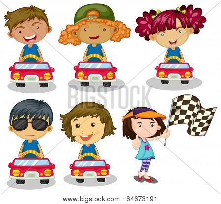 Illustration of the kids car racing on a white background
