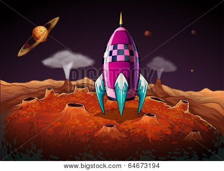 Illustration of a rocket at the outerspace near the planets