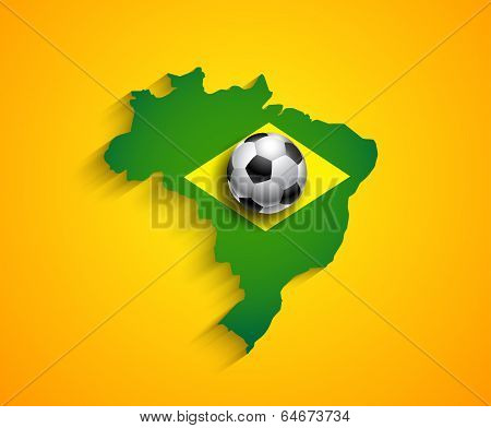 Brazil Country  Soccer Map With Ball