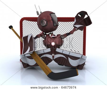 3D Render of an Android playing ice hockey