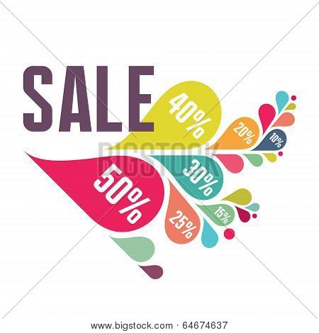 Sale Vector Banner - Colorful Petals - Illustration Concept