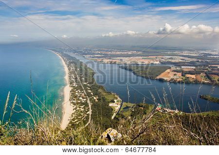 View Of Beach, Lake And Clear Sea From Mount Circeo