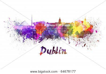 Dublin Skyline In Watercolor