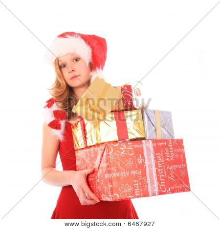 Miss Santa Is Losing One Gift Box