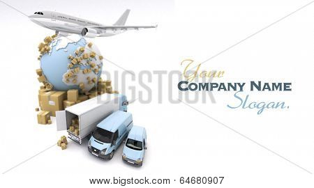 3D rendering of the Earth, cardboard boxes, a van, a truck and a flying plane