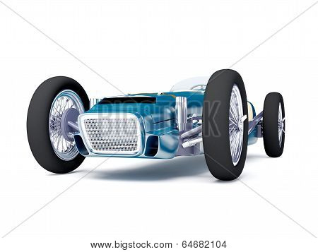 blue vintage racing car