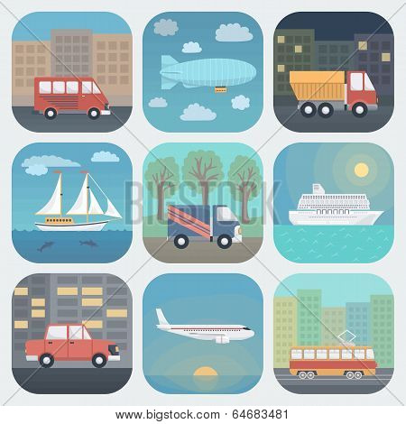 Transport App Icons Set