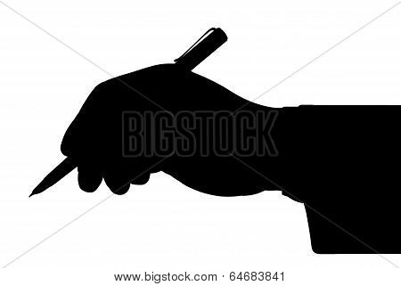 Black Outline Of The Hand Holding A Pen