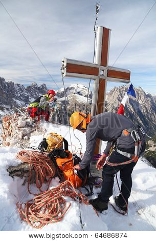 Alpinists celebrating a successfull climb