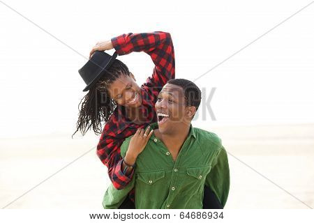 Playful African American Couple Smiling