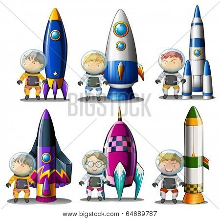 Illustration of the explorers beside the rockets on a white background