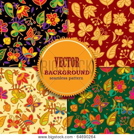 Vector set of decorative multicolored seamless background patterns with flowers, leaves and butterflies