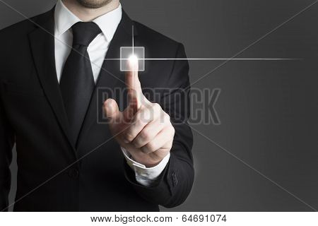 Businessman Pressing Virtual Button