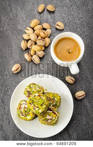 pistachio turkish delight dessert and coffee