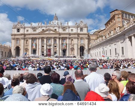 Rome, Vatican - April 28, 2014: Polish Pilgrims Listen To The Mass During The Canonization