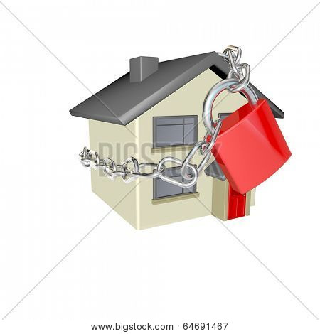 making sure your home is secure and protected idea for home insurance or home security, 3d render