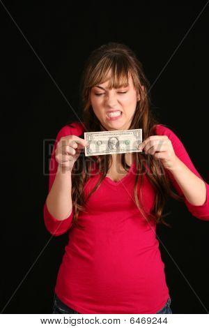 Girl Trying To Stretch Dollar Bill