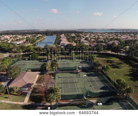 Suburban Tennic Courts Aerial View