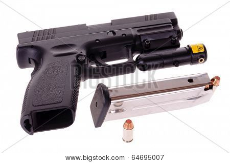 40 caliber semi-automatic handgun with a laser site attached