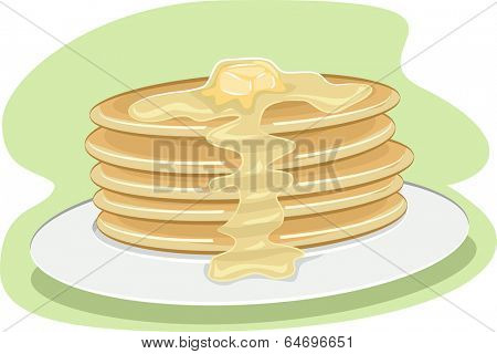 Illustration of a Stack of Pancakes with Syrup Dripping All Over it