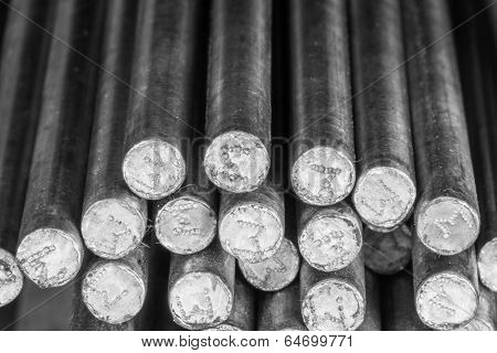 Stack Of Round Steel Bar.
