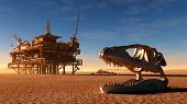 pic of dinosaur skeleton  - Dinosaur skeleton and the oil station in the desert - JPG