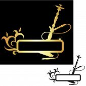 stock photo of hookah  - hookah black and gold - JPG