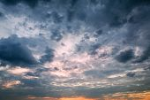 stock photo of storms  - Dramatic sky with storm clouds as background - JPG