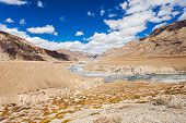 stock photo of manali-leh road  - Himalayas landscape road between Manali and Leh India - JPG