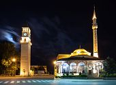 picture of albania  - Clock Tower and Mosque in the center Tirana Albania - JPG