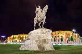 stock photo of albania  - Skanderberg statue in the center Tirana Albania - JPG