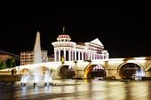 stock photo of macedonia  - Macedonia Square is the main square of Skopje Macedonia - JPG