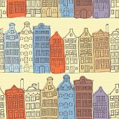 picture of row houses  - Seamless sketchy amsterdam holland background - JPG