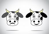 foto of calf cow  - happy and sad faced cow illustration cartoon concept set - JPG